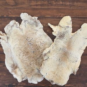 Two fine soft tanned natural rabbit hare skins